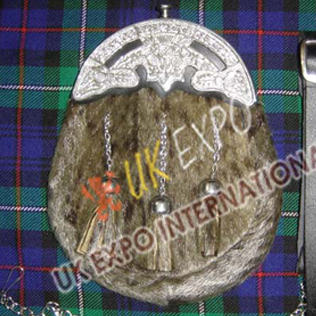 Brown Seal Skin Sporran with Scottish Flower Cantle