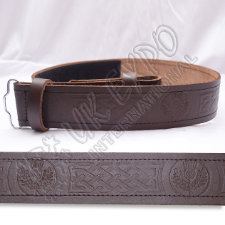 Brown Thistle Belt with Scottish Celtic Embossed real leather belt