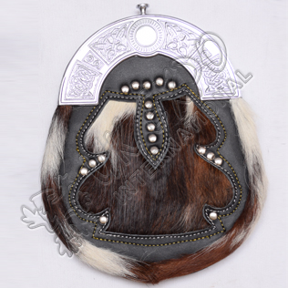Brown White Natural Goat Skin With leather Studs with celtic cantle