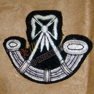 Bugle Badges White Embroidry on Black wool