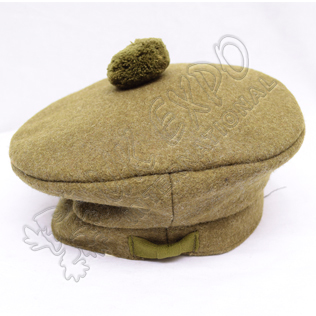 Canadian Khaki Military Bonnet with Canadian Khaki Pom Pom