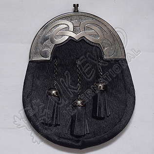 Celtic Antique Cantle Black Seal Skin Sporran with Three Tassels