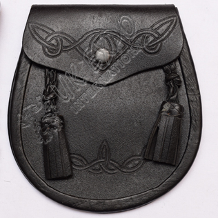 Celtic Double Embossed Crown Leather Sporrans