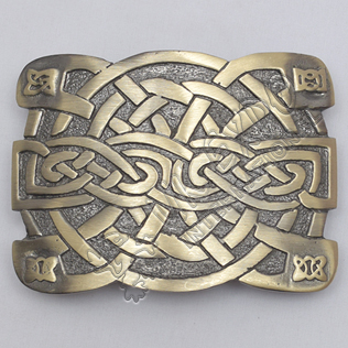 Celtic Irish Trinity Cross Knot Brass Antique Kilt Buckle