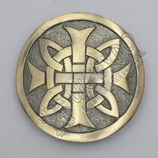Celtic Knot Cross Round Brass Antique Kilt Belt Buckle