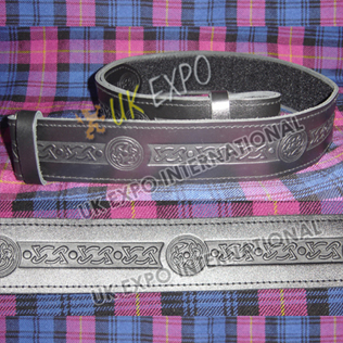 Celtic knot work Embossed on Black Color orignal Leather Kilt Belt