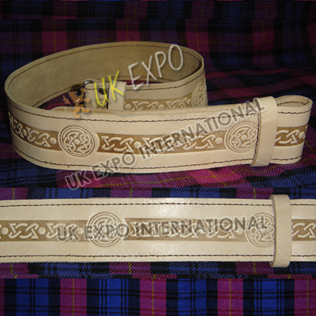 Celtic knot work Embossed on Skin Color orignal Leather Kilt Belt