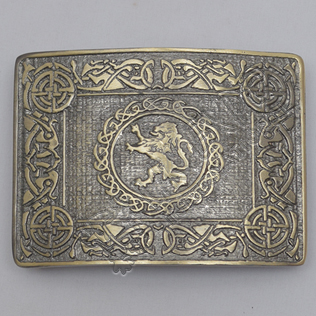 Celtic Rampart Lion Brass Antique Kilt Belt Buckle