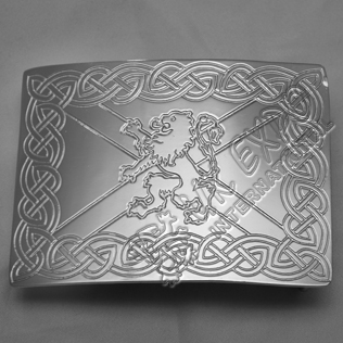Chrome Celtic Rampart lion Scottish Buckle