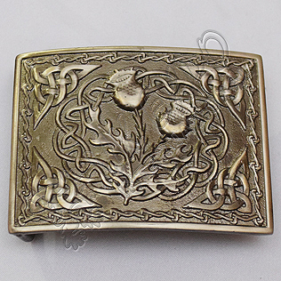 Celtic Scottish Flower Shiny Antique Kilt Buckle