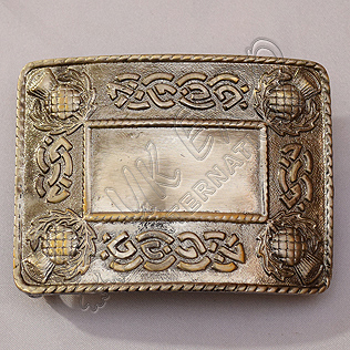 Celtic Scottish Petal Shiny Antique Kilt Buckle