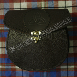 Celtic sign embossed front Full Black Grain Leather with Brass Lock Sporran