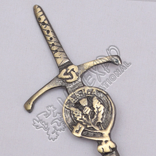 Celtic Sword With Clan Thistle Brass Antique Kilt Pin