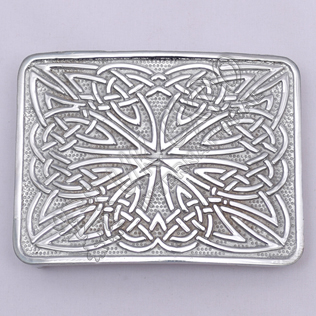 Celtic Weave Scottish Chrome Kilt Belt Buckle