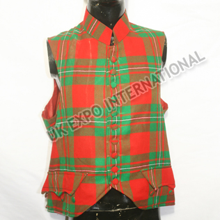 Check Fabric Vest with fabric Buttons and red Lining