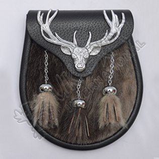 Chrome Plated Stag Semi Dress Brown Seal Skin With Black Leather Sporran