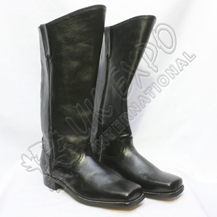 Civil War Black Leather Long Boots