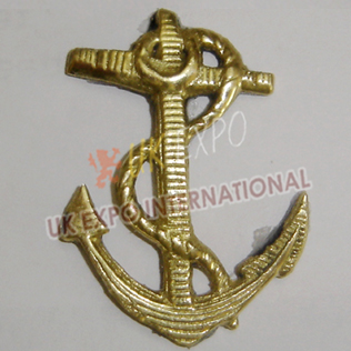 Civil war Brass hat Anchor Gold Color Badge