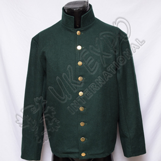 Civil War Coat Dark Green With Brass Botton