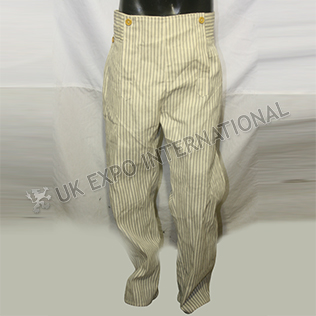 civil war trouser strip material with wooden buttons back side leather lace