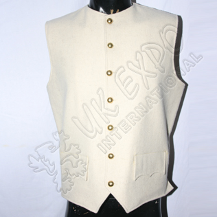 Civil War Vest Coat Cream Wool with Brass Button