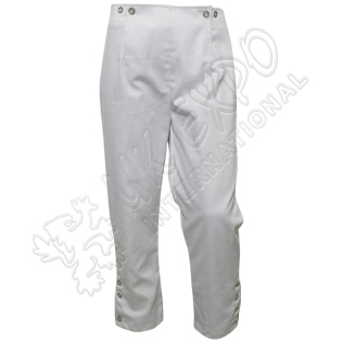 Civil war White Trouser With Chrome Button
