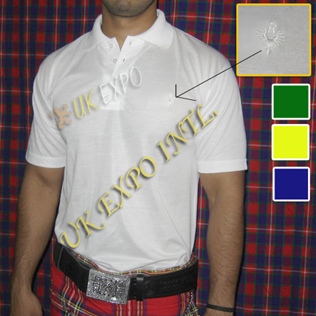 Collar Half Sleeve Kilt T Shirt