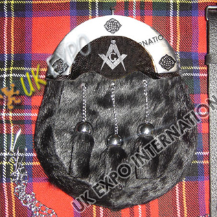 Color filled Cantle Seal Skin Black Sporran with Masonic Badge on leather Backing
