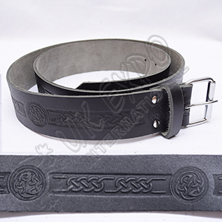 Cow Hide Leather Single Pin Buckle with Celtic Embossed Belt