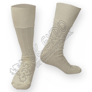 Rhombus Cuff Cream Color Kilt Woolen Socks