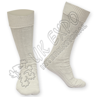 Plain Cuff Cream Fully Celtic Knot Chain Socks