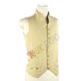 Cream color wool Vest with Brass Button cotton inside