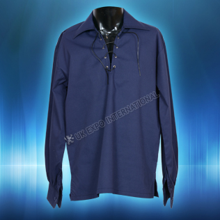 Dark Blue Mens Scottish Highland Jacobite Shirts Jacobean Ghillie