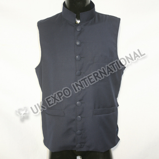 Dark Blue Vest Coat with Buckle Adjustment