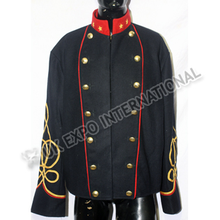 Dark blue with Red Collar and piping CS Staff Coat