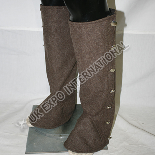 Dark Brown wool Long Gaiters with Plain Siver Buttons