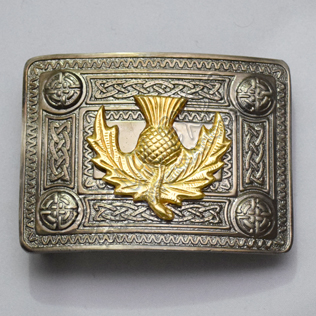 Dark Gray Antique Celtic Buckle with Large Gold thistle Badge