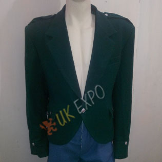 Dark green Argyl jacket wool material