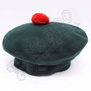 Dark Green Military Bonnet with Red Pom Pom