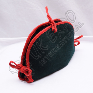 Dark Green With Red Piping BICORN Hat