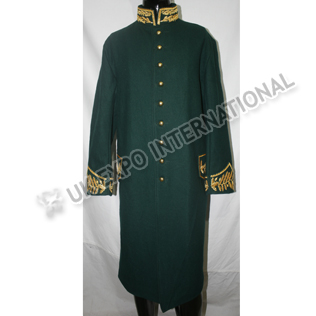 Darker Green Long Great Coat with Gold Bullion and Zeek hand Embroidery on Collar