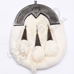 Diamond Shape celtic Cantle Rabbit fur sporran
