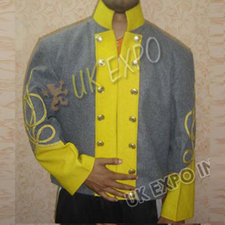 Double breast shell jacket Gray with Yellow 2 Row gold braid
