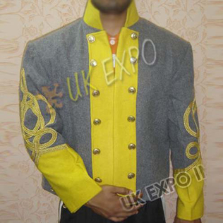 Double breast shell jacket Gray with Yellow 4 Row gold braid