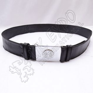 Double sided stitched Leather Belt with Snaps Closing