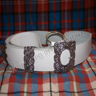 Drummer Belt with White Leather