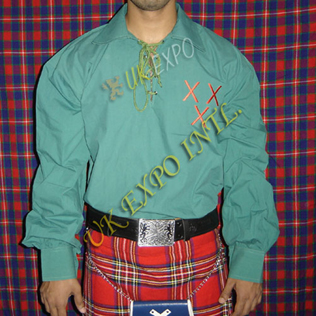 Green Emblem logo Embroidered Mens Scottish Highland Jacobite Shirts Jacobean Ghillie