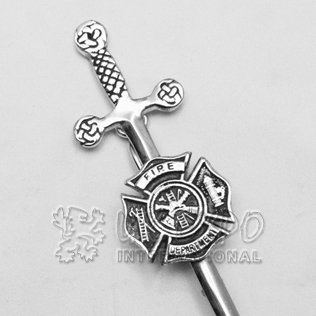 Fire Department Black color filled Kilt pin