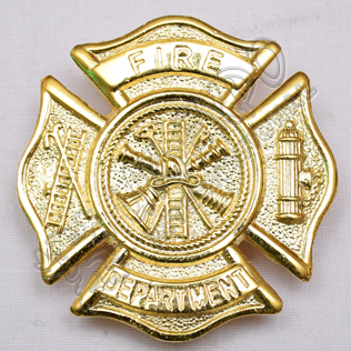 Fire Department Brass Polish Metal Badge