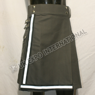 Fire Man Black and White Color Tape Utility Kilt